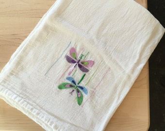 """Dragonfly Embroidery, Flour Sack Kitchen Towel, Dragongly Kitchen Decor, Dragonflies, Colorful Towel, Cute Kitchen Towel - 28""""x29"""""""