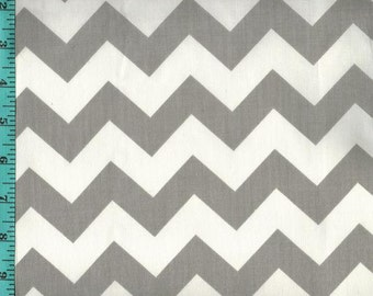 Chevron Zigzag Gray/White Fabric Quilting Crafting Home Decor