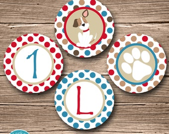 Puppy Party Circles, Puppy Birthday Party Circles, Puppy Cupcake Toppers, Puppy Party Circles Puppy Party Decor Dog Red Blue Decorations