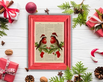 Vintage Christmas Robins and Holly - vintage image printed on a page from a late 1800s Upcycled Dictionary
