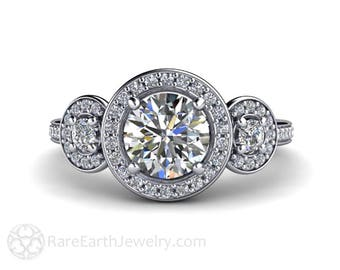 Platinum Moissanite Engagement Ring 3 Stone Diamond Halo Forever One Moissanite Ring Conflict Free Custom Bridal Jewelry