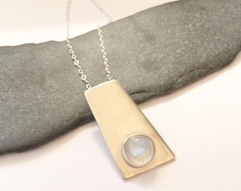 Moonstone Sterling Silver Necklace, silver moonstone pendant necklace, moonstone Necklace, geometric Necklace