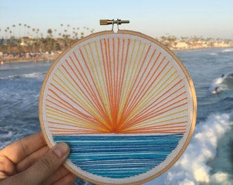 Meet Me Where the Sky Touches the Sea~ Hand-made Embroidery