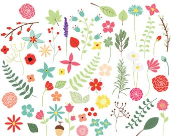 Floral clip art - spring flowers clipart blooms, wedding clipart, for wreaths or floral wreaths, roses, dahlias personal and commercial use