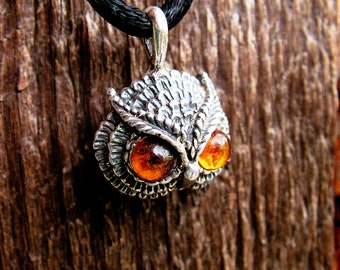 Sterling Silver Owl Pendant With Amber Eyes