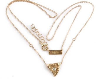 14k Heart of a Goddess Necklace | 14k Yellow Gold or 14k Rose Gold Diamond Necklace