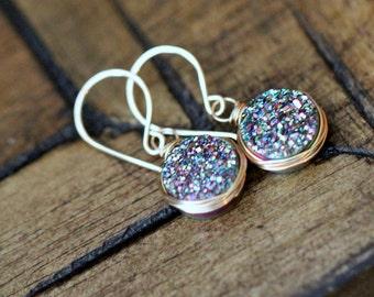 Druzy Dangle Earrings , Rainbow Green Gemstone Quartz Drops in Gold , Rose Gold , Sterling Silver , Modern Druzy Jewelry - Sea Farer