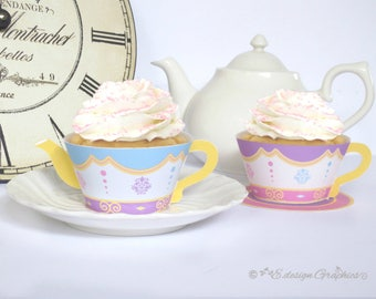 ROYAL PRINCESS TEASET (Easy Assembly) - Printable Teacup Teapot Cupcake Wrappers / Favour Holders - Tea Party - Instant Download