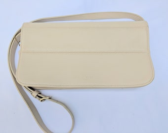 1990s Coach 9091 Vintage New York Cream Color Tribeca Crossbody Bag with Detachable, Adjustable Strap, Made in the USA