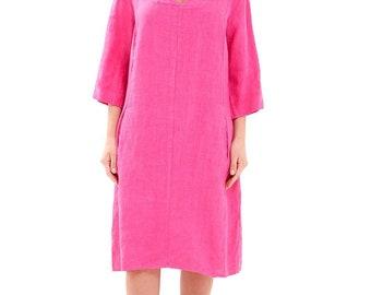 Women's Summer Dress Linen Shift Dress With Pockets A Grade 100% Linen One Size (Pink)