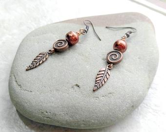 Copper feather earrings, swirly earrings, gifts for women, mothers day gift idea, long dangle earrings, boho style earrings, orange copper