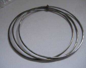 3 Antique Silver Bangle Bracelets Bar to Hold Them Together