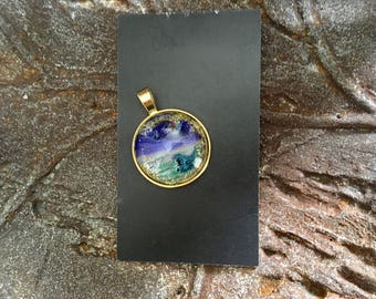 Moon Glow Pendant Hand Painted Violet Purple Brass Necklace Mother Earth Celestial Artisan Statement Jewelry Gift Her Him Mixed Media OOAK
