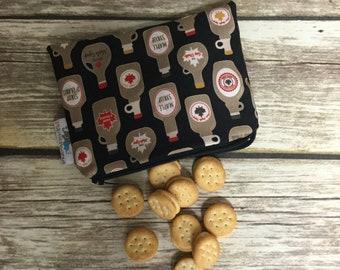 Reusable Snack Bag, Reusable Zipper Bag, Reusable Sandwich Bag, Zipper Pouch, Reusable, Maple Syrup Snack Bag, Lunch Bag, Reusable Bag
