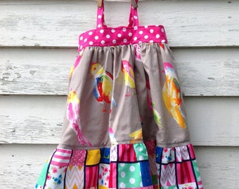 Size 12-18 Month Girls Dress, Watercolor Dress, Bird Dress, Toddler Dress, Baby Girls Outfit, Rainbow Dress