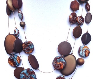 Brown chunky bold, Women handmade polymer clay necklace, Brown and blue multi strand necklace, unique statement necklace