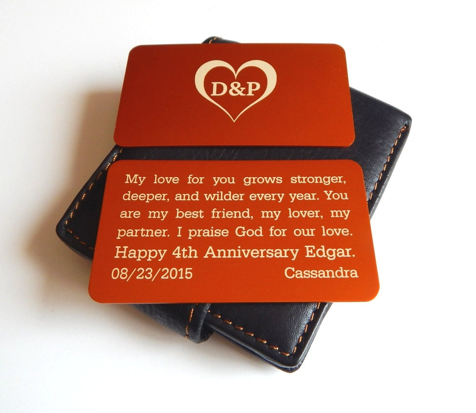 4th Wedding Anniversary Gift To My Husband Wallet InsertGift