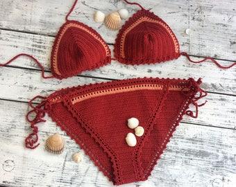 Crochet bikini set...Triangle bikini...Bohemian bikini