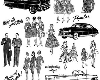 Sweet Fifties Vintage Fashion Portraits Clear Stamps