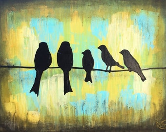 Put Your Family On The Wire - Custom Birds On A Wire Made To Order Original Painting by Artist Rafi Perez Mixed Medium on Canvas 18X24