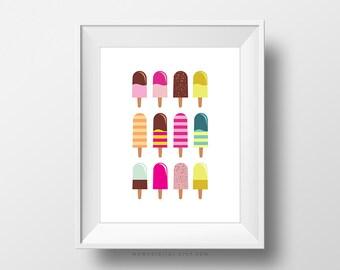 SALE -  Popsicles Ice Cream, Ice Cream Print, Popsicle Poster, Colorful Poster, Colorful Print, Nursery Poster, Kid Print, Children Art