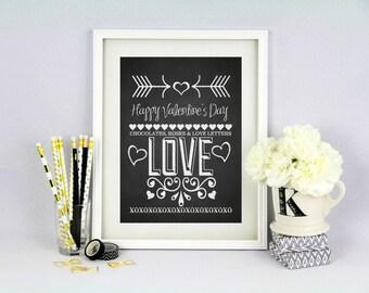 Valentine Decor - Chalkboard Background - 8x10 INSTANT DOWNLOAD - Happy Valentine's Day Print