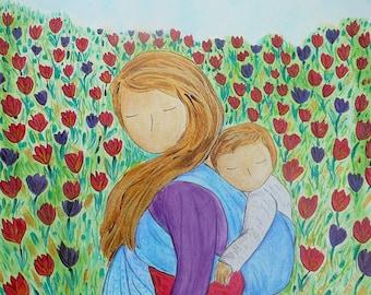 Babywearing gift.Mother's day.BABYWEARING art.Motherhood painting.Babywearing Tulips.Little painting.Mother and baby.Baby nature.Baby wrap