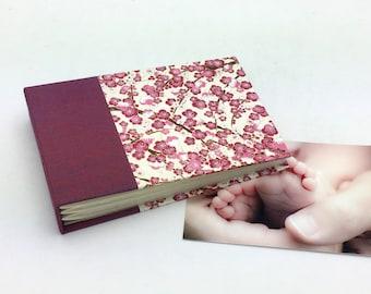 Mini Photo Album, Magenta Plum Blossoms, holds 36 4x6 photos, In Stock