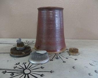 Pottery Vase Earthenware Vase Brown Vase Earth Tones Signed Pottery Woodland Decor Mid Century Vase Heavy Vase Chunky Pottery