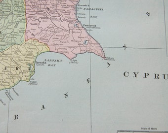 1901 Cyprus & Crete Antique Map