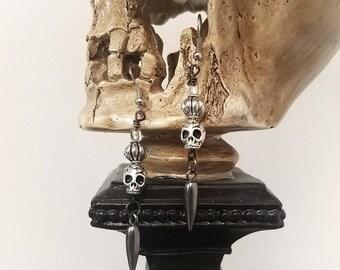 Skull Earrings, Women's Earrings, Dangle Skull Earrings, Day of the Dead Earrings, Sugar Skull Earrings, Gothic Earrings, Antique Skulls