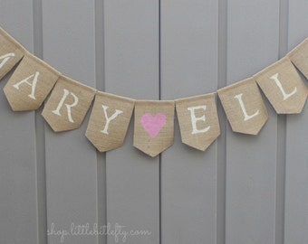 Custom Baby Name Banner, Personalized Nursery Decor, Baby Shower Decor, Baby Name Sign, Burlap Baby Shower,  Burlap Baby Banner, Baby Girl