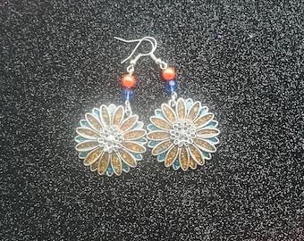Handmade resin filled metal charm earrings