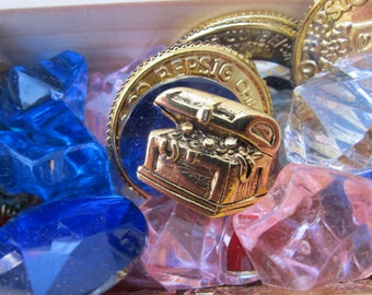 Gold Treasure Chest- CC587G- Treasure, Jewels, and Pirate Pins