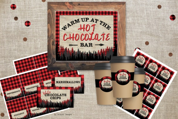 hot chocolate bar sign 8x10 lumberjack birthday decorations
