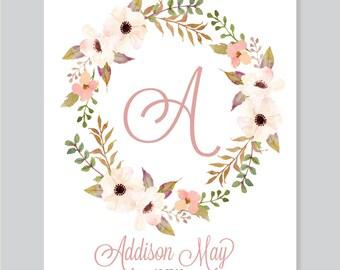 Monogram Nursery Art, Monogram Baby Letter, Floral Monogram, Nursery Initials, Baby Name art