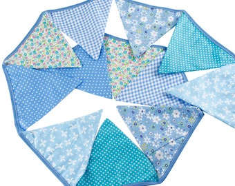 Cotton Pennant Bunting in Shades of Blue ~ 3.2m *Baby Shower *Nursery *Garden Party