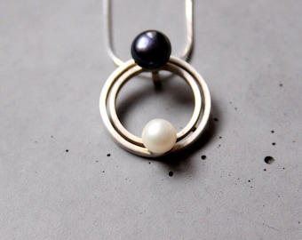 Circular Sterling Silver necklace with Black and White Mother of Pearls, Argentine Tango inspired necklace - Embrace