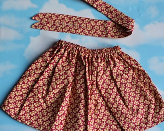 Children Spring Cotton Skirt with matching Hairband Bow.