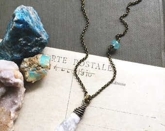 L i g h t...Howlite necklace, Aqua Chalcedony, moonchild, Healing, boho, Gemini, Sacral Chakra, Energy, calming necklace FREE SHIPPING