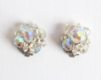 Aurora Borealis Earrings, Crystal Aurora Borealis Earrings, Aurora Borealis Clip On Earrings, Iridescent Earrings, Rainbow Earrings, Beaded