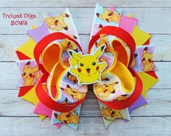 Pokemon hair bow Pokemon Go bow Boutique Bow Pikachu Hair Bows Pokemon Pikachu Bow Pikachu Bows Over the Top Bow Pokemon party
