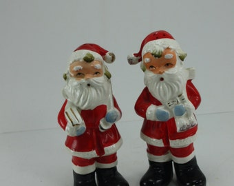 Vintage Santa Claus St. Nick Kris Kringle Ceramic Salt And Pepper Shakers Japan Christmas Holiday Tabletop Decor Stocking Stuffer