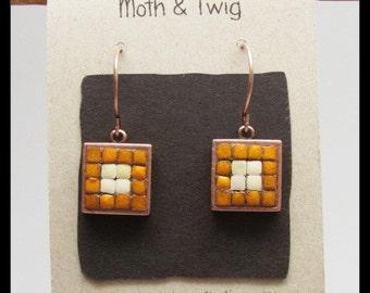 Mosaic Earrings, Moroccan Ceramic Tiles, Dangle Earrings, Copper Earrings