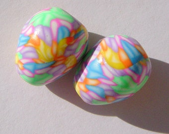 Easter Egg Handmade Artisan Polymer Clay Teardrop Bead Pair