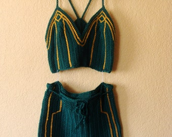 20s Inspired Art Deco Flapper Teal And Gold Crop Tank Top And Shorts Set
