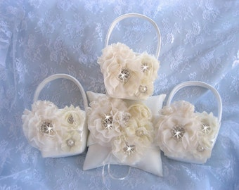 Sale! Three Flower Girl Baskets, 3D, Ring Bearer Pillow, Flower Girl Basket Set Wedding Pillow Elegant and Classic