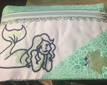 Cute Embroidered Zipper Bag with Mermaid