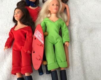 Set of Four Vintage 1977 Hasbro Charlie's Angels Dolls with Skateboard