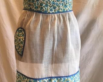 Vintage organza half apron, Retro half apron, Heart shaped pocket, Calico and organza apron